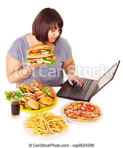 rifiuto, donna mangia, cibo. - csp9524398