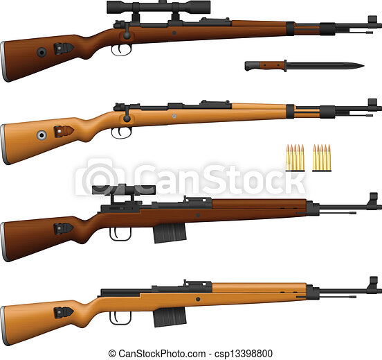 Layered vector illustration of antique germany rifle.
