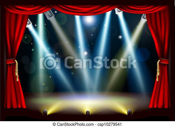 riflettore, teatro, palcoscenico - csp10279541