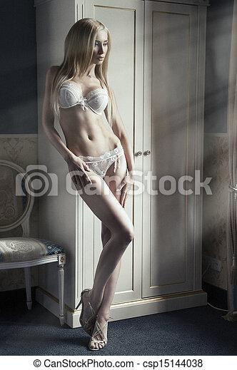riga di arresto, -, luce, biancheria intima, donna, sexy - csp15144038