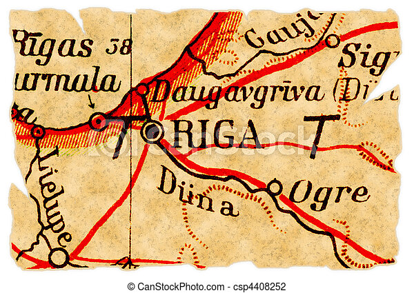 Riga Latvia Old Map Riga Latvia On An Old Torn Map From - Old riga map