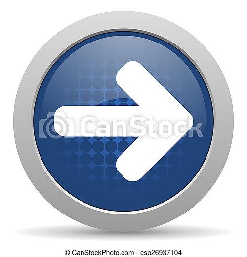right arrow blue glossy web icon - csp26937104