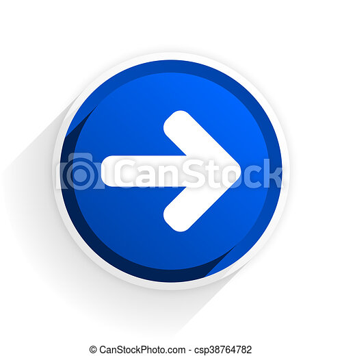 right arrow flat icon with shadow on white background, blue modern design web element - csp38764782