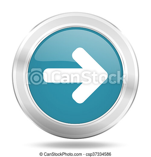 right arrow icon, blue round glossy metallic button, web and mobile app design illustration - csp37334586