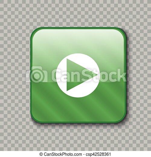 Right arrow icon. Glossy green button. Vector illustration - csp42528361
