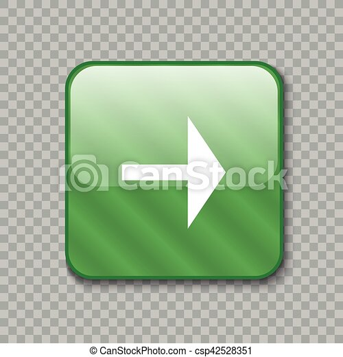 Right arrow icon. Glossy green button. Vector illustration - csp42528351