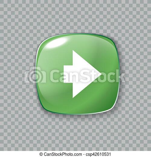 Right arrow icon. Glossy green button. illustration - csp42610531