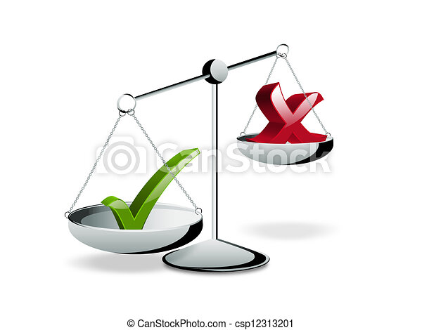 Right Choice Check Mark Symbols On The Scales