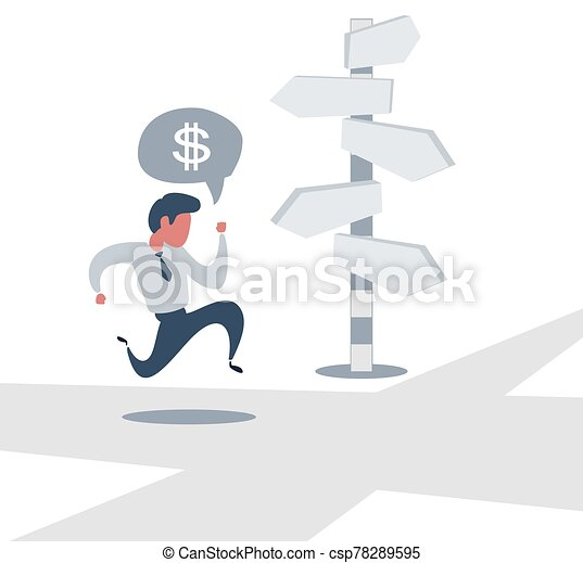 Right direction. A businessman looks at arrows pointing to many directions. - csp78289595