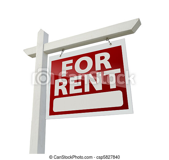 Right Facing For Rent Real Estate Sign on White - csp5827840