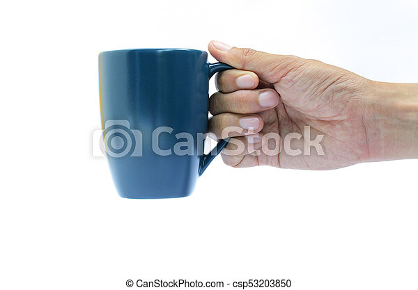 Right hand holding blue coffee cup on white backgrounds - csp53203850