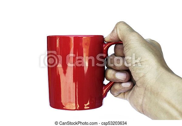 right hand holding red coffee cup on white backgrounds - csp53203634