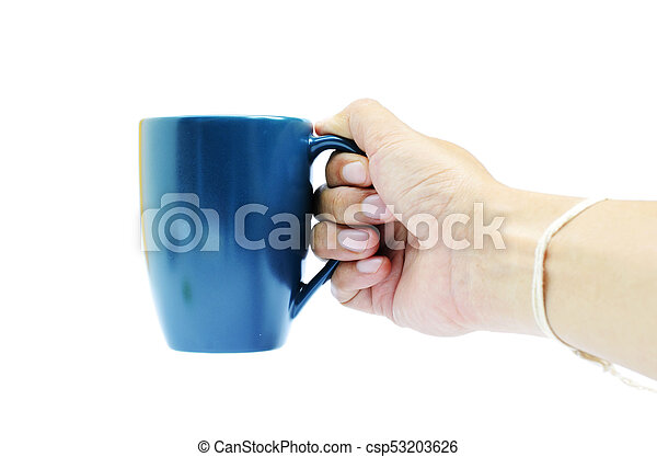 Right hand of hipster holding blue coffee cup on white backgrounds - csp53203626