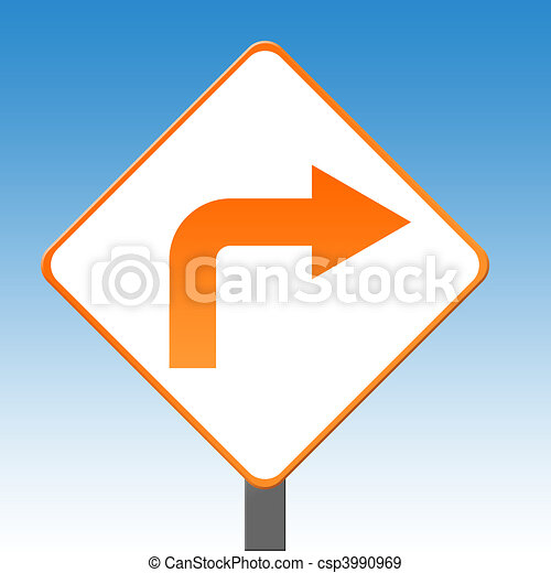 Right turn sign - csp3990969