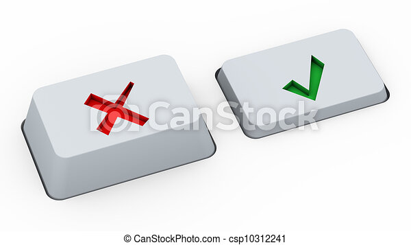 Right Wrong Choice Buttons 3d Render Of Keyboard Buttons With Yes