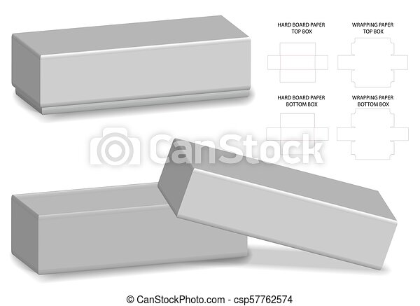 Rigid box packaging die cut template 3d mockup.