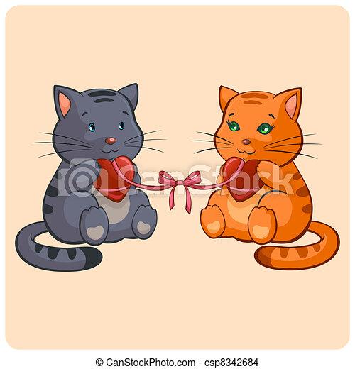 rigolote, amour, romantique, -, deux, illustration, vecteur, chats - csp8342684