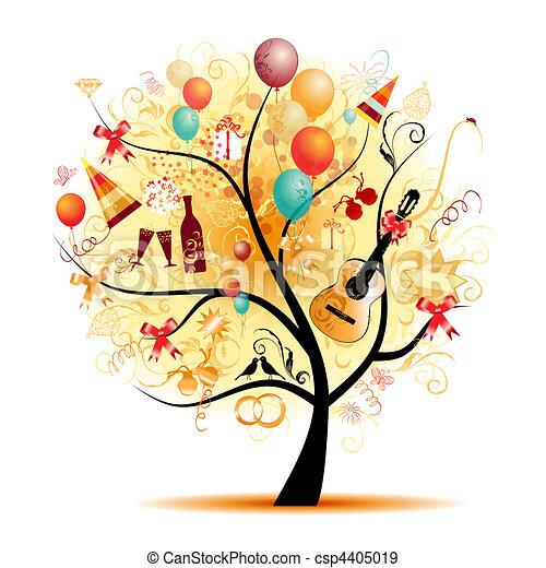 rigolote, arbre, symboles, vacances, célébration, heureux - csp4405019