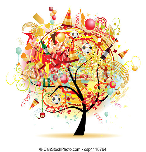 rigolote, arbre, symboles, vacances, célébration, heureux - csp4118764