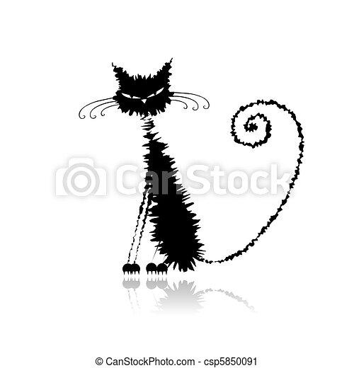 rigolote, chat, conception, mouillé, noir, ton - csp5850091