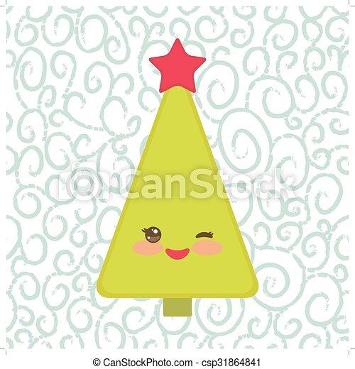 rigolote, cligner, card., arbre, nouveau, vecteur, vert, année, étoile, sourire heureux, noël, rouges, eye. - csp31864841