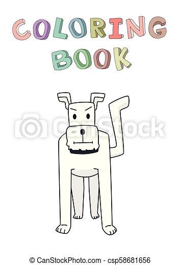 rigolote, coloration, character., chien, illustration, isolé, contour, vecteur, book., sourire, terrier, style., dessin animé, standing. - csp58681656