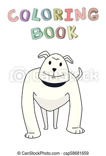 rigolote, coloration, character., isolé, illustration, chien, vecteur, book., chien garde, sourire, fort, style., contour, dessin animé, standing. - csp58681659