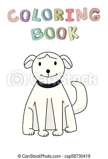 rigolote, coloration, character., isolé, illustration, chien, contour, vecteur, book., sourire, style., dessin animé - csp58730419