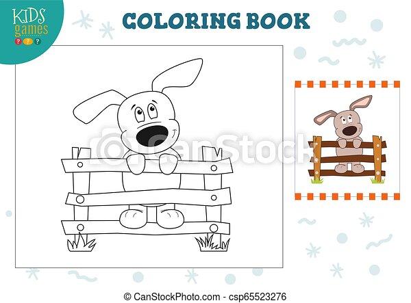 rigolote, coloration, illustration, vecteur, chiot, livre - csp65523276