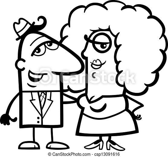Rigolote Couple Noir Blanc Dessin Anime Rigolote Femme Amour