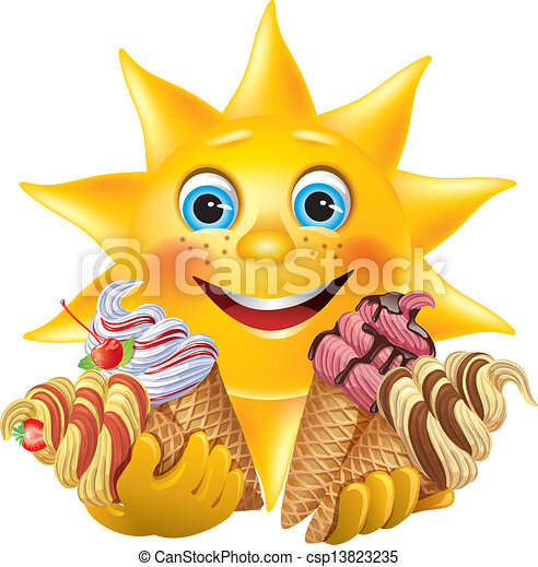 rigolote, crèmes, délicieux, soleil glace - csp13823235