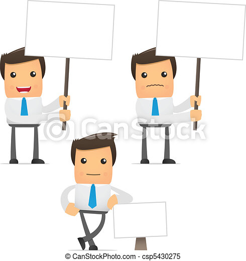 rigolote, ensemble, ouvrier, dessin animé, bureau - csp5430275