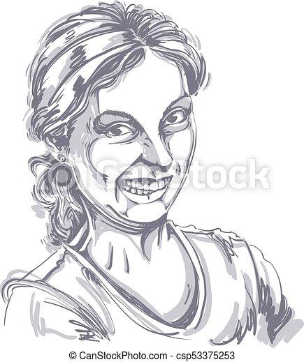 Rigolote Femme Face Dessin Grimace Vecteur Idiot Portrait Fille Noire Blanc Confection