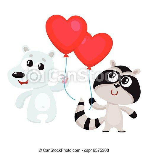 rigolote form balloon ours coeur tenue raton laveur rouges - Ours Coeur