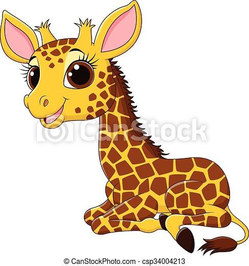 Dessin Girafe Rigolote rigolote, girafe, dessin animé, séance. rigolote, vecteur, séance