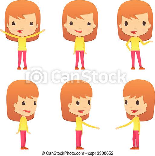 rigolote, girl, ensemble, dessin animé - csp13308652