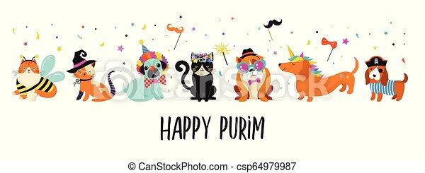 rigolote, illustration., carnaval, coloré, mignon, costumes, animaux, chiens, purim, vecteur, chats, bannière, pets., heureux - csp64979987