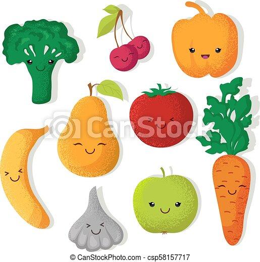 Rigolote Légumes Vecteur Caractères Fruits Dessin Animé