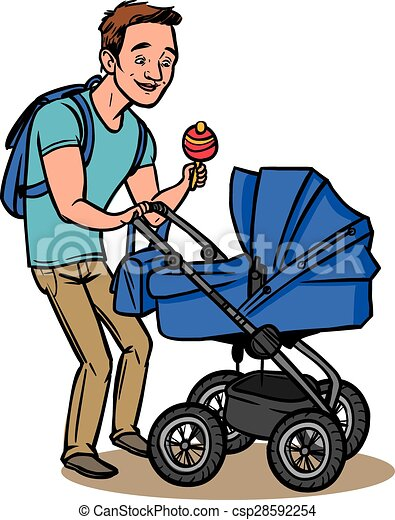 Rigolote p re illustration stroller vecteur b b - Poussette dessin ...