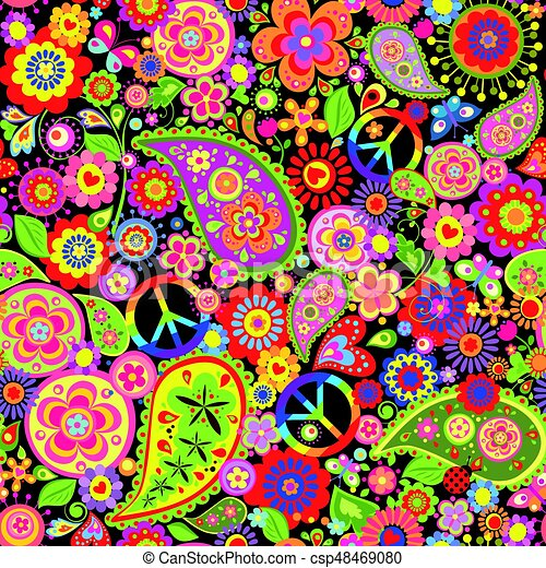 rigolote papier peint hippie color pu ril paix. Black Bedroom Furniture Sets. Home Design Ideas
