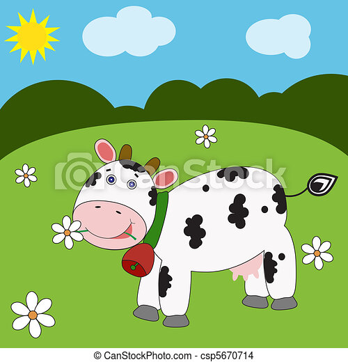 Rigolote paysage vache rigolote eps10 cow illustration vecteur paysage - Photo vache rigolote ...