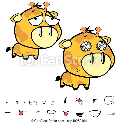 Rigolote Peu Set12 Grande Tête Girafe Expressions