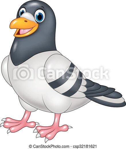 Rigolote pigeon dessin anim isol rigolote pigeon isol illustration vecteur fond - Dessin pigeon ...