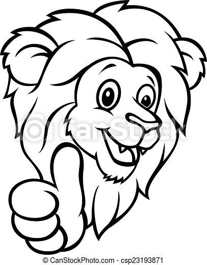 rigolote, pouce, abandon, lion, dessin animé - csp23193871