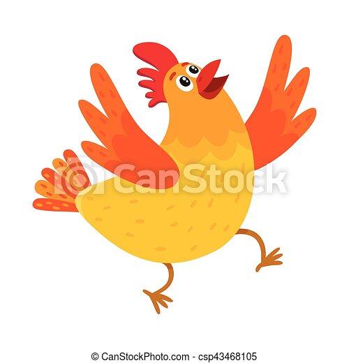 Super Rigolote, poulet, dessin animé, sauter, surpris, poule, ou  UP32