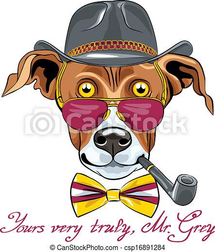 rigolote, race, lévrier, chien, vecteur, hipster, dessin animé - csp16891284