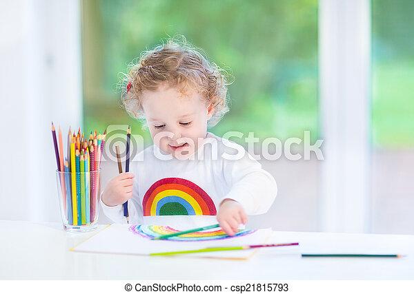 rigolote, salle, arc-en-ciel, doux, girl, enfantqui commence à marcher, peinture, blanc - csp21815793