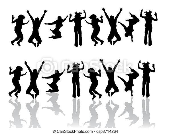 rigolote, sauter, adolescent - csp3714264