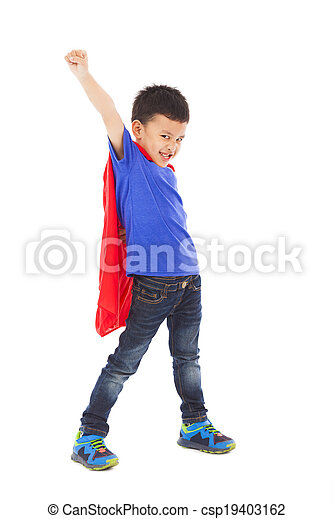 rigolote, superhero, faire, expression faciale, gosse - csp19403162