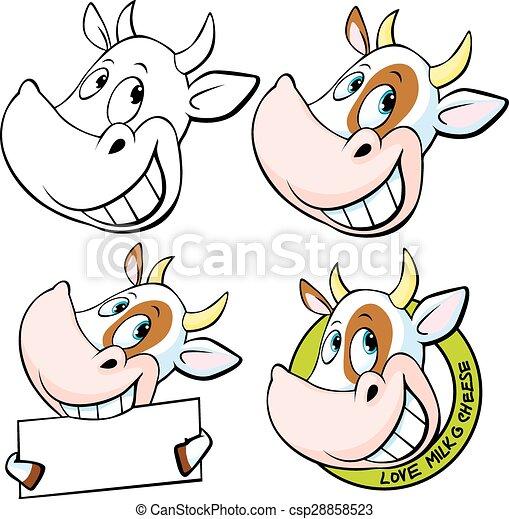 Rigolote Tete Vache Illustratio Vecteur Rigolote Tete